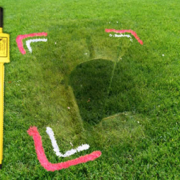 Oil Tank Removal image of grass and measurements