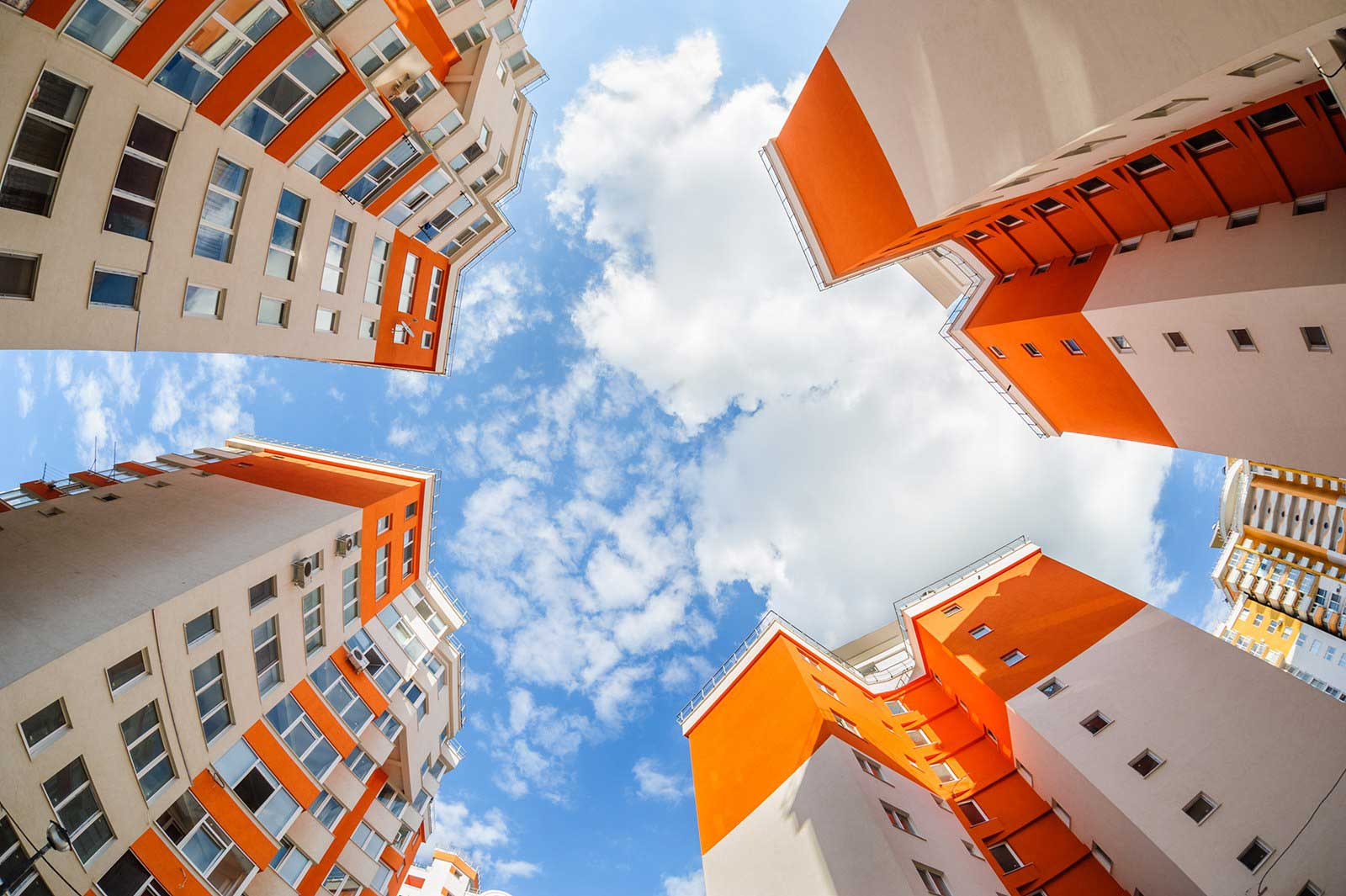 photo of orange and white commercial building